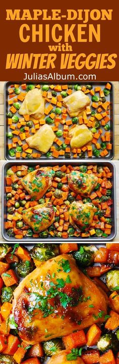 ... Maple-Dijon Chicken Thighs with Roasted Butternut Squash and Brussels