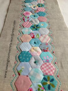 """{epp} Hexies with embroidery - This would be neat to do maybe in a """"strippy"""" quilt. A little moe contrast for the solid in a strippy quilt would help to highlight the hexies. pattern available on Etsy for needlecase Patchwork Hexagonal, Hexagon Quilt, Quilting Projects, Quilting Designs, Sewing Projects, Quilting Templates, Applique Designs, Quilting Ideas, Small Quilts"""