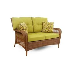 Martha Stewart Living, Charlottetown Brown All-Weather Wicker Patio Loveseat with Green Bean Cushion, at The Home Depot - Tablet Patio Furniture Cushions, Patio Lounge Chairs, Patio Loveseat, Wicker Furniture, Furniture Decor, Furniture Sets, Settee, Room Chairs, Outdoor Furniture