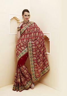 USD 83.81 Maroon Faux Georgette Patch Work Wedding Saree  32461