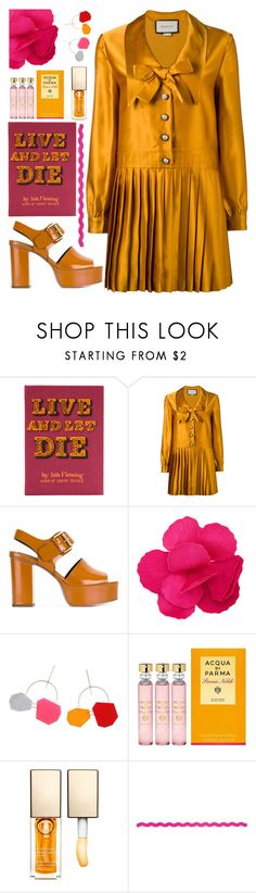"""""""Challenge accepted"""" by sunnydays4everkh ❤ liked on Polyvore featuring Olympia Le-Tan, Gucci, See by Chloé, Esme Vie, Acqua di Parma and Clarins"""