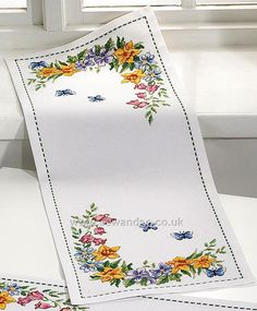 Buy Spring Flowers and Butterflies Table Runner Cross Stitch Kit Online at www.sewandso.co.uk