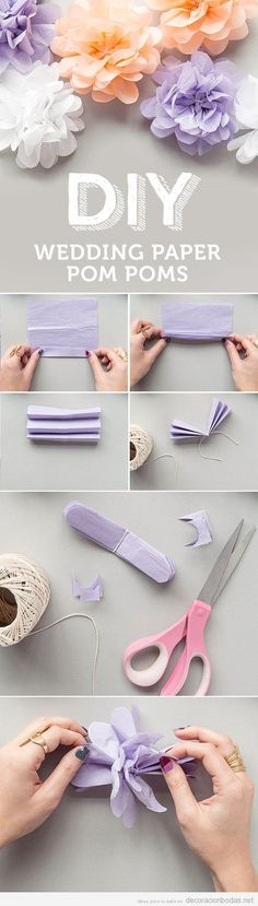 Tutorial pompones de papel DIY para decorar boda