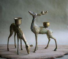 Brass Deer Figurines Candleholder Doe and Buck  by susantique