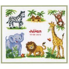 Zoo Animals Birth Record: Cross stitch (Vervaco, 200270.357)