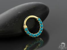 14K gold eternity clicker with turquoise