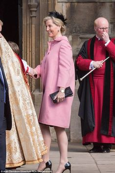 The Countess attending Easter Sunday service in a pink coat by Prada, costing £2,200