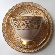 Tuscan English Bone China Tea Cup Saucer Plate Vintage Pink Gold Gilt Turquoise $49.95