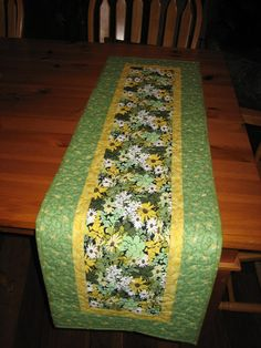 Quilted Table Runner Spring Mint Green and Yellow