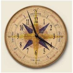 Amazon.com: Compass Nautical Wall Clock Art Kitchen Home Decor: Kitchen & Dining