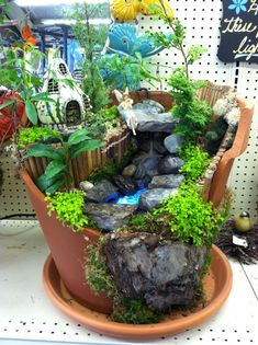 Fairy garden with water feature by Kristin Middleton .