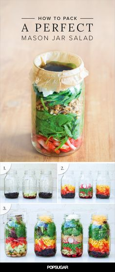 Packing a to-go salad in a mason jar seems like a great idea — it's an easy way to transport a vibrant, veggie-heavy meal without worries of dressing leaking into your bag — but if improperly assembled, it may end up underdressed, soggy, or less than fresh. Don't let that happen to you! Instead, follow this step-by-step guide, excerpted from Julia Mirabella's Mason Jar Salads and More: 50 Layered Lunches to Grab and Go ($12, originally $17).