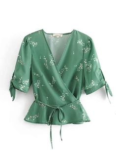 Product name: Ditsy Floral Belted Wrap Blouse at SHEIN, Category: Blouses Blouse Styles, Blouse Designs, Ditsy Floral, Floral Blouse, Wrap Blouse, Green Fashion, Lingerie Sleepwear, Ladies Dress Design, Shirt Blouses