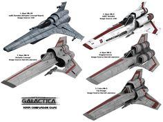 Battlestar Galactica Viper variants.