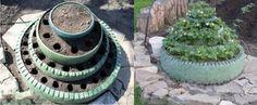 Macetero elevado con neumáticos reciclados