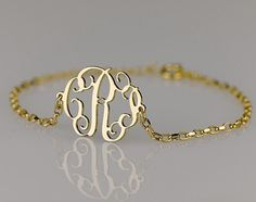 Monogram Bracelet 0.6 inch , Side attached on 18k Gold Plated over Sterling Silver. $35.95, via Etsy.