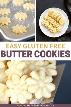 This gluten free butter cookie recipe turns out perfect icebox or spritz (cookie press) cookies every time. They hold their shape and can be as simple or as fancy as you like! Super easy, from scratch Gluten Free Butter Cookie Recipe, Cookies Sans Gluten, Gluten Free Christmas Cookies, Dessert Sans Gluten, Bon Dessert, Gluten Free Sweets, Gluten Free Baking, Dairy Free Recipes, Eating Gluten Free