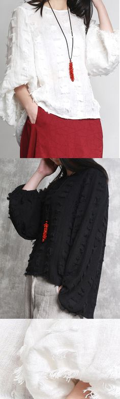c10bee4112 New autumn white jacquard linen tops fashion oversize cotton cute casual  blouse