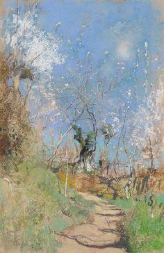 poboh:  A Path Through Trees, Giuseppe Casciaro. Italian (1863 - 1941) - Pastel on Paper -