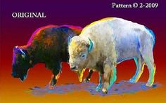 2 Buffalo in Color... ~Counted~ Cross Stitch Pattern ~Computer Generated~ Indian Western BBXS