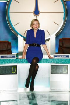 Golden girl: The blonde (here in replaced Countdown vet Carol Vorderman in January Rachel Riley Countdown, Rachel Riley Legs, Rachael Riley, Short Skirts, Short Dresses, Carol Vorderman, Pantyhose Outfits, Embarrassing Moments, Tv Presenters
