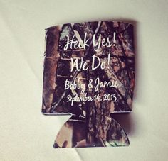 Camo koozies for a country wedding favor
