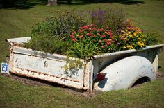 Truck box as flower bed