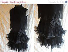 25% SALE 60s Dress // Black Dress // Vintage 1960s Black Chiffon Ruffled Pleated Flouncy Cocktail Party Dress by Miss Elliette Size M 28 wa