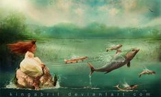 """Off We Go"" , made by : Kinga Britschgi on deviantart - (Fish on a Leash pulling little boat)"
