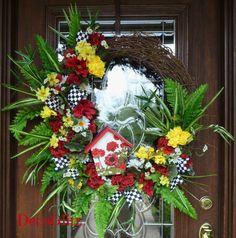 Grapevine Wreath with GERANIUM BIRDHOUSE and SUMMER by decoglitz