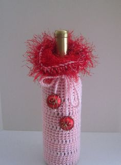 Love Valentine Crochet Wine Bottle Covers Sacks by CrochetCluster