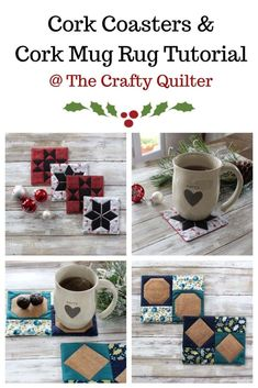 Easy cork fabric projects and tutorial - The Crafty Quilter Diamond Template, Mug Rug Tutorial, Last Minute Christmas Gifts, Cork Crafts, Fabric Crafts, Cork Fabric, Cork Coasters, Quilted Table Runners, Fabric Squares