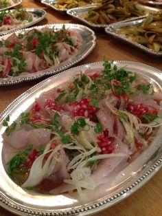 Devine Harisma Kingfish salad with pomegranate and preserved lemon!