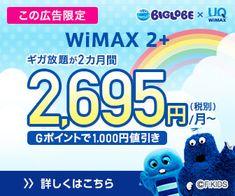 ギガ放題が2カ月間2,695円/月〜 WiMAX 2+
