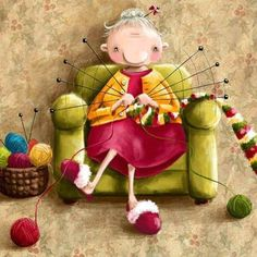 Knitting Lady - illustration by Elina Ellis