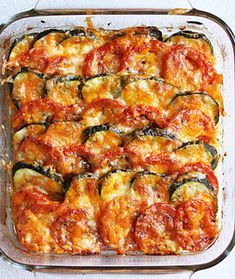 Tomato and Zucchini Tian by Tamera H - Key Ingredient Cheese Recipes, Vegetable Recipes, Vegetable Tian, Chicken Recipes, Stuffed Pepper Soup, Stuffed Peppers, Zucchini, Baked Vegetables, Fiestas