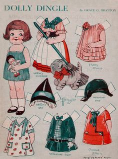 Vintage Halloween Dolly Dingle Paper Dolls Nov 1930 by Grace Drayton Printable Sheets Colorful Witch Cat Costume Digital Collage Sheets by mindfulresource, $3.00