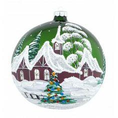 Green Wintertime Landscape Christmas Ornament