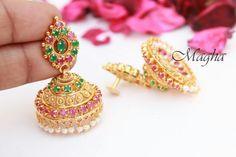 Chiraag Gold Jhumka Earrings, Indian Jewelry Earrings, Gold Earrings Designs, Coral Jewelry, Ruby Jewelry, Gold Jewellery Design, Gold Designs, India Jewelry, Jewelery