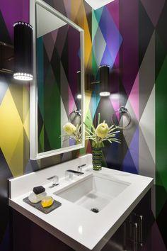Cool arteriors in Powder Room Contemporary with Bathroom Vanities Ideas next to Bathroom Vanity Lighting Ideas alongside Carrera Quartz Countertops and Living Room Wallpaper