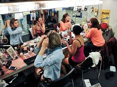 Photo 1 of 27 | Backstage in her dressing room, Beautiful headliner Jessie Mueller applies her eye makeup. | Exclusive Photos! Hang Out Backstage with Jessie Mueller & the Cast of Beautiful During the Show | Broadway.com