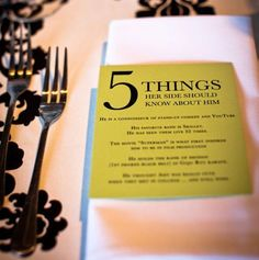 Add a personalized card to each place setting to help guests get to know the bride or groom better! | Seahorse Bend Press/Etsy