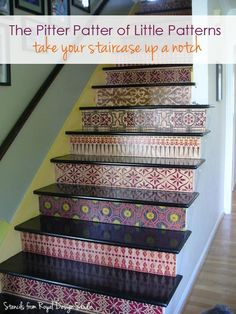 Stair risers with varying painted stencil pattern design