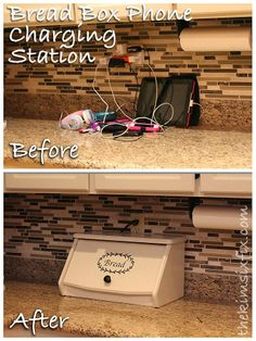 disguise your electronics charging station in plain sight, cleaning tips, repurposing upcycling, Setting up a charging station in a bread box disguises them in plain sight