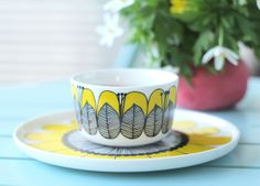 yellow cup - My Attic Vintage Cups, Vintage Items, Yellow Cups, Marimekko, Kitchenware, Tableware, Little Birdie, Lassi, Scandinavian Furniture