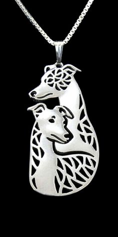 Cute whippet dogs necklace. Two whippets guarding the wearer of this perfect gift necklace. The perfect jewelry for dog lovers. #whippets #dogs #dog #doglover #puppy #puppies #puppylover #cute #cutedog #cutepuppy #cutedogs #cutepuppies #jewelry #necklace #gold #silver