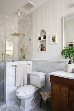 #ad European Farmhouse Master Bathroom Reveal - #ad European Farmhouse Master Bathroom Reveal - Marble tile, gold and antique finds bring this small bathroom together. <br> #marblebathroom #bathroomreveal #bathroommakeover #marbletile #europeanfarmhouse #masterbathroom #camitidbits #flooranddecor