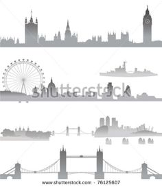 Very Detailed London skyline with Big Ben, Westminster, London Eye, Tower Bridge, Tower of London, city,  St. Paul Cathedral, Thames Barrier, and O2 - stock vector