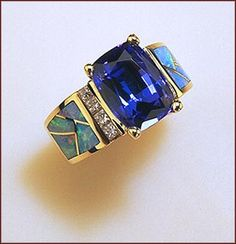 Ring Australian Opal Inlay, Tanzanite and Diamond Ring $8,650.00   Designed by: Valerie Fairchild