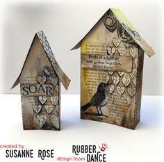 Susanne Rose Designs: Easter Home Decor with Rubber Dance Putz Houses, Bird Houses, Wooden Houses, Painted Houses, Village Houses, Paper Art, Paper Crafts, Painting Wood Paneling, Glitter Houses